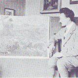 Scalpelli accanto al suo dipinto Pastore con gregge