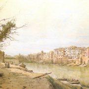 Vecchie case della Via della Longara sulla sponda destra del Tevere – al fondo il Palazzo della Farnesina