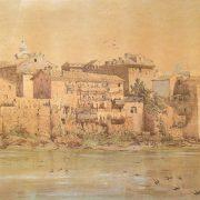 Vecchie case medievali su mura Aureliane presso S.Giovanni dei Fiorentini