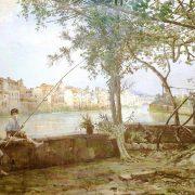 Terrazza presso il Porto Leonino – Aspetto della sponda sinistra fino a Ponte Sisto – A destra i giardini della Farnesina