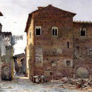 Una delle Torri della Rocca dei Pierleoni dall'Ospizio del Ricovero