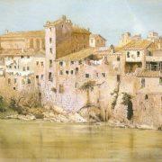 Dalla Farnesina – Vecchie case medievali sopra gli avanzi delle mura Aureliane