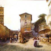 Via dei Penitenzieri – a destra la salita alla Villa Cecchini – a sinistra il Campanile della Chiesa di S. Spirito – in fondo la Porta Leonina