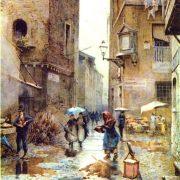 Via della Lungaretta - La Torre del Palazzo Mattei a sinistra, la Via della Longarina al fondo