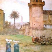 Torre dei Cesarini (1350) sulla Piazza di S.Pietro in Vincoli – al fondo la Torre del Campidoglio