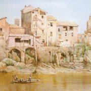 Dall'Isola Tiberina - Accesso dal Tevere ed avanzi della fortezza dei Pierleoni – Mura romane a destra