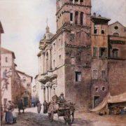 Chiesa e Campanile di S. Maria in Monticelli, al fondo Casa medievale e la Via dei Zingari