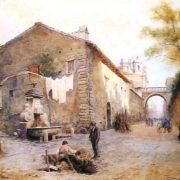 La Via Giulia – La fontana del Mascherone a sinistra – il giardino Farnese a destra