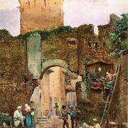 Torre ed ingresso della fortezza degli Anguillara presso la Lungaretta