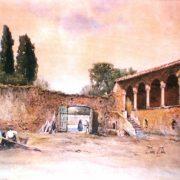 Portico e loggia della casa del Cardinale Bessarione sulla Via Latina (1450) presso S. Cesareo