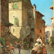 Abitazioni medievali e Palazzo Mattei nella via Transtiberina, ora Lungaretta, presso il Ponte Cestio