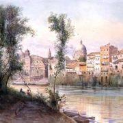 Sulle sponde dei prati di Castello – il Porto di Ripetta – S. Rocco – S. Girolamo dei Schiavoni e S. Carlo al fondo – le vecchie case della Via Leccona a destra