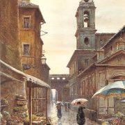 La via del Campanile di Borgo, in distanza si vede il Corridoio Vaticano