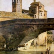 Il Campanile della Chiesa di S. Bartolomeo, all'isola Tiberina (da Trastevere)
