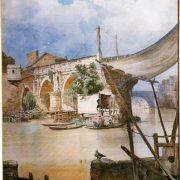 Baracche di pescatori al Ponte Rotto, in distanza si scorge la torre del castello degli Alberteschi