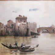 L'Isola Tiberina da ponente col Ponte Cestio prima delle ultime demolizioni