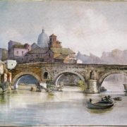 Ponte Senatorio, detto Ponte Rotto. A destra la chiesa del Salvatore e ruderi presso i bagni di Donna Olimpia: (dalle sponde della Ripa Greca o via di Porta Leone)