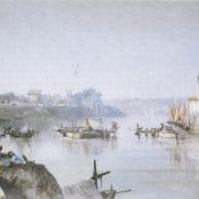 Giornelli di pescatori sugli avanzi del Ponte Silicio presso la Ripa Romea o porto di Ripagrande