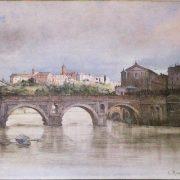 Il Ponte Rotto, o Senatorio, da ponente – In distanza il Monte Aventino