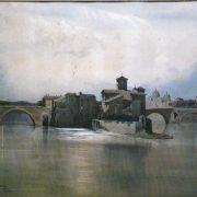 L'Isola Tiberina da levante coi ponti Cestio e Fabricio