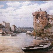 Costruzioni medievali presso la torre detta di Belisario nell'Isola Tiberina e sponde del Trastevere. Avanti le ultime demolizioni