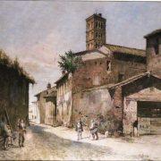 La Via della Greca presso la Piazza della Bocca della Verità – Il Campanile di S.M. in Cosmedin a destra