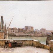 Il Porto Leonino – a sinistra il ponte e in fondo la Chiesa di S. Giovanni dei Fiorentini, il Palazzo Sacchetti e le vecchie case presso Piazza Padella