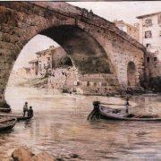 Il ponte Cestio dalla sponda destra , nel Trastevere