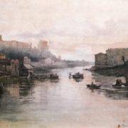 Vestigie del ponte Sulpicio (?). L'Aventino al fondo