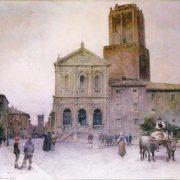 La Chiesa di S. Caterina da Siena, la Torre detta delle Milizie – al fondo, la Torre del Grillo