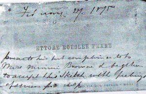 Biglietto da visita di Ettore Roesler Franz del 27 febbraio 1875