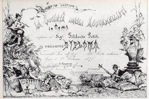 Copia del Diploma di Socio effettivo di Filiberto Petiti, firmato il 1° febbraio 1878 dal Presidente della Società degli Acquarellisti in Roma