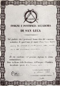 Diploma rilasciato al 18enne Ettore Roesler Franz dall'Accademia di San Luca per il 2° premio da lui vinto il 4 dicembre 1863