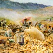 La raccolta del granturco nella valle dell'Empiglione presso Tivoli