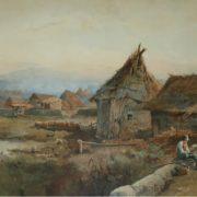 Pastorello con un agnellino davanti ad una capanna