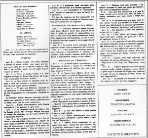 Statuto della Società degli Acquarellisti in Roma con i nomi dei 10 Soci fondatori tra i quali figura Ettore Roesler Franz
