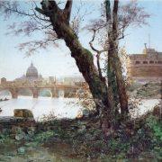 Vista di Castel S. Angelo e S. Pietro dal Tevere