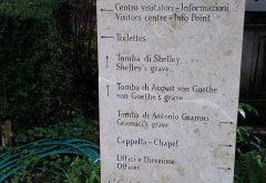 Cartello lapidi Cimitero Acattolico